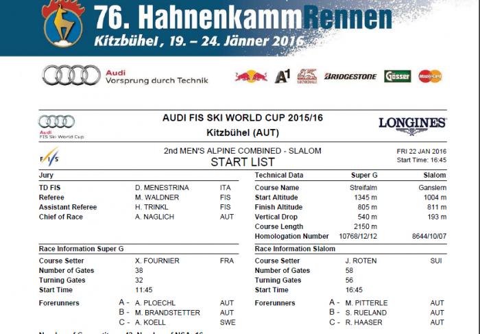 Start List Combined Slalom