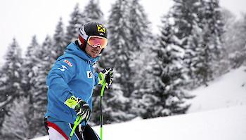 ÖSV-Team trainierte heute in Kitzbühel