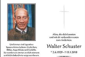 Walter Schuster – wir erinnern uns!