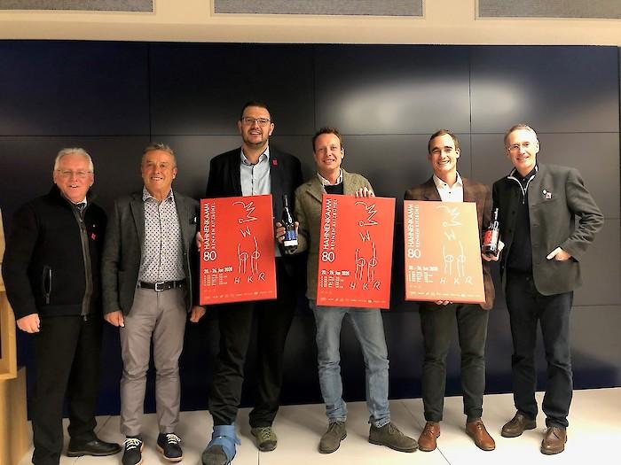 v.l.: Wilfried Leitzinger (KSC Vizepräsident), Max Niedermayr (Präsident Konsortium Südtirol Wein), Hansi Pichler (Präsident IDM Südtirol), Clemens Lageder (Familienweingut Lageder), Harald Cronst (Kellerei Kurtatsch), Michael Huber (KSC Präsident)