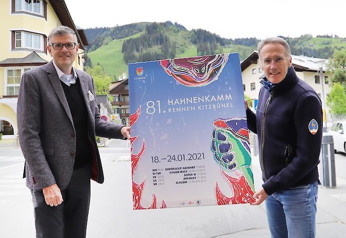 Dr. Klaus Winkler, Bürgermeister der Stadt Kitzbühel und Dr. Michael Huber, KSC Präsident und HKR-Chef (rechts)